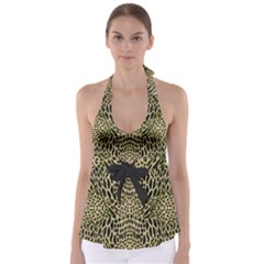 Brown Reptile Babydoll Tankini Top