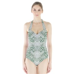 Green Snake Texture Halter Swimsuit