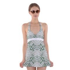 Green Snake Texture Halter Swimsuit Dress