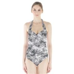 Winter Camouflage Halter Swimsuit