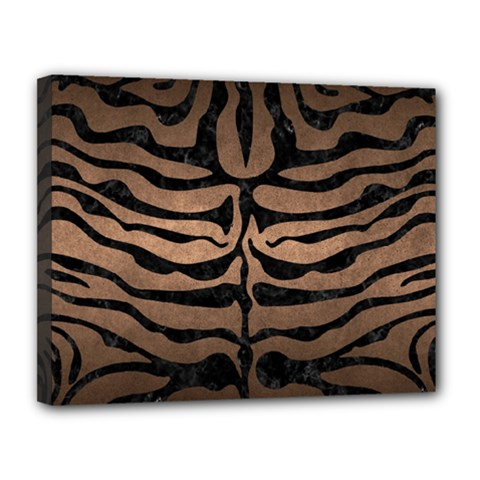 Skin2 Black Marble & Bronze Metal (r) Canvas 14  X 11  (stretched)