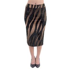 Skin2 Black Marble & Bronze Metal Midi Pencil Skirt