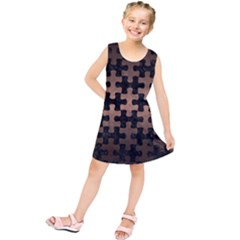 Puzzle1 Black Marble & Bronze Metal Kids  Tunic Dress