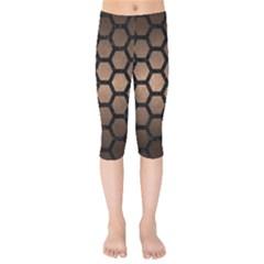 Hexagon2 Black Marble & Bronze Metal (r) Kids  Capri Leggings