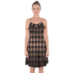 Houndstooth1 Black Marble & Bronze Metal Ruffle Detail Chiffon Dress