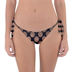 Circles2 Black Marble & Bronze Metal Reversible Bikini Bottom