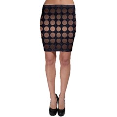 Circles1 Black Marble & Bronze Metal Bodycon Skirt
