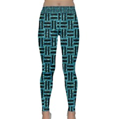 Woven1 Black Marble & Blue Green Water (r) Classic Yoga Leggings