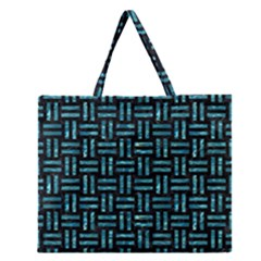 Woven1 Black Marble & Blue Green Water Zipper Large Tote Bag