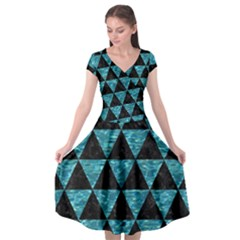Triangle3 Black Marble & Blue Green Water Cap Sleeve Wrap Front Dress