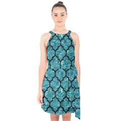Tile1 Black Marble & Blue Green Water (r) Halter Collar Waist Tie Chiffon Dress