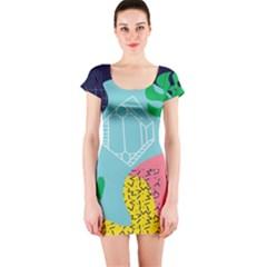 Behance Feelings Beauty Waves Blue Yellow Pink Green Leaf Short Sleeve Bodycon Dress