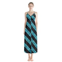Stripes3 Black Marble & Blue Green Water (r) Button Up Chiffon Maxi Dress