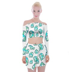 Brilliant Diamond Green Blue White Off Shoulder Top with Skirt Set