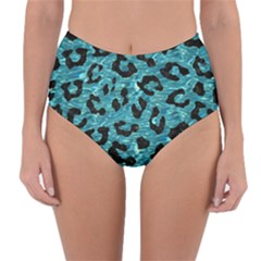 Skin5 Black Marble & Blue Green Water Reversible High Waist Bikini Bottoms