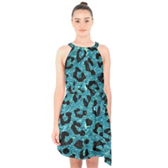 Skin5 Black Marble & Blue Green Water Halter Collar Waist Tie Chiffon Dress