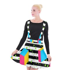 Cube Line Polka Dots Horizontal Triangle Pink Yellow Blue Green Black Flag Suspender Skater Skirt