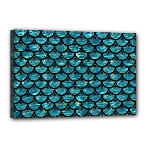 Scales3 Black Marble & Blue Green Water (r) Canvas 18  X 12  (stretched)
