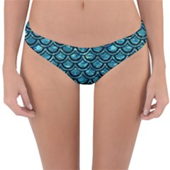 Scales2 Black Marble & Blue Green Water (r) Reversible Hipster Bikini Bottoms