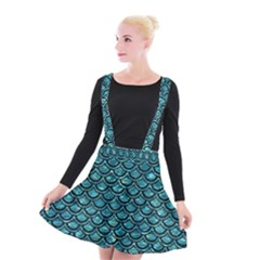Scales2 Black Marble & Blue Green Water (r) Suspender Skater Skirt