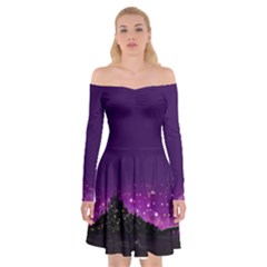 Floating Lights Off Shoulder Skater Dress