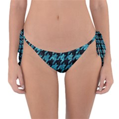 Houndstooth1 Black Marble & Blue Green Water Reversible Bikini Bottom