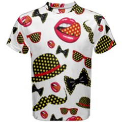 Lip Hat Vector Hipster Example Image Star Sexy Men s Cotton Tee