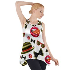 Lip Hat Vector Hipster Example Image Star Sexy Side Drop Tank Tunic