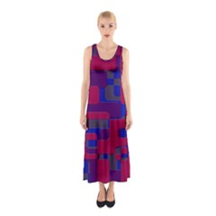 Offset Puzzle Rounded Graphic Squares In A Red And Blue Colour Set Sleeveless Maxi Dress
