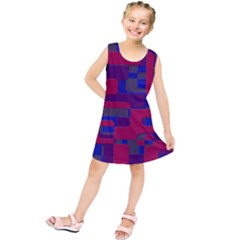 Offset Puzzle Rounded Graphic Squares In A Red And Blue Colour Set Kids  Tunic Dress