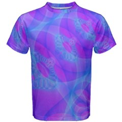 Original Purple Blue Fractal Composed Overlapping Loops Misty Translucent Men s Cotton Tee