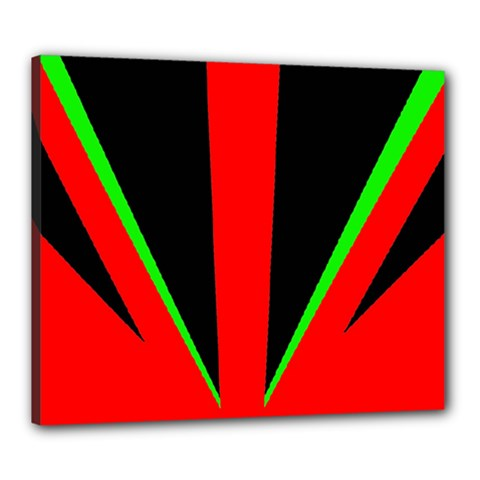 Rays Light Chevron Green Red Black Canvas 24  X 20