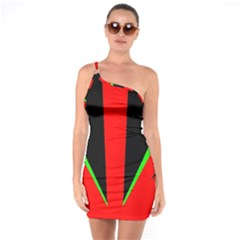 Rays Light Chevron Green Red Black One Soulder Bodycon Dress