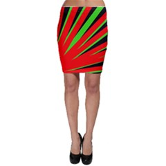 Rays Light Chevron Red Green Black Bodycon Skirt