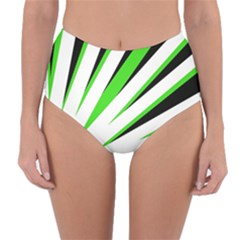 Rays Light Chevron White Green Black Reversible High Waist Bikini Bottoms