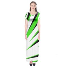 Rays Light Chevron White Green Black Short Sleeve Maxi Dress