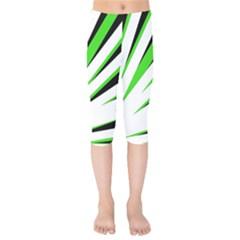 Rays Light Chevron White Green Black Kids  Capri Leggings