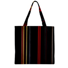 Stripes Line Black Red Zipper Grocery Tote Bag