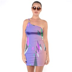 Triangle Wave Rainbow One Soulder Bodycon Dress