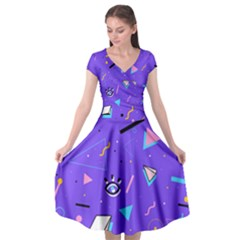 Vintage Unique Graphics Memphis Style Geometric Style Pattern Grapic Triangle Big Eye Purple Blue Cap Sleeve Wrap Front Dress