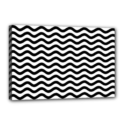 Waves Stripes Triangles Wave Chevron Black Canvas 18  X 12