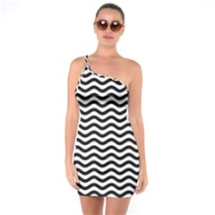 Waves Stripes Triangles Wave Chevron Black One Soulder Bodycon Dress