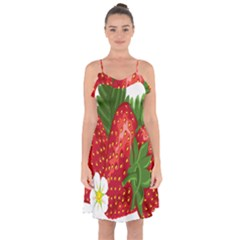 Strawberry Red Seed Leaf Green Ruffle Detail Chiffon Dress
