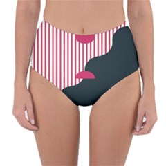 Waves Line Polka Dots Vertical Black Pink Reversible High Waist Bikini Bottoms