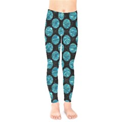 Circles2 Black Marble & Blue Green Water Kids  Legging