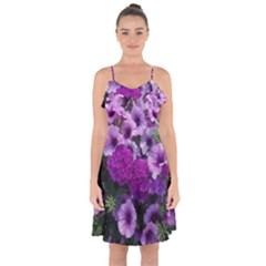 Wonderful Lilac Flower Mix Ruffle Detail Chiffon Dress