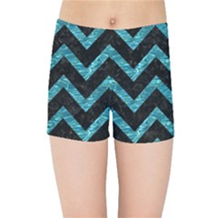 Chevron9 Black Marble & Blue Green Water Kids Sports Shorts