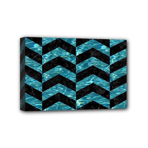 Chevron2 Black Marble & Blue Green Water Mini Canvas 6  X 4  (stretched)