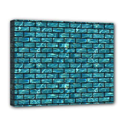 Brick1 Black Marble & Blue Green Water (r) Deluxe Canvas 20  X 16  (stretched)
