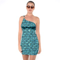 Brick1 Black Marble & Blue Green Water (r) One Shoulder Ring Trim Bodycon Dress